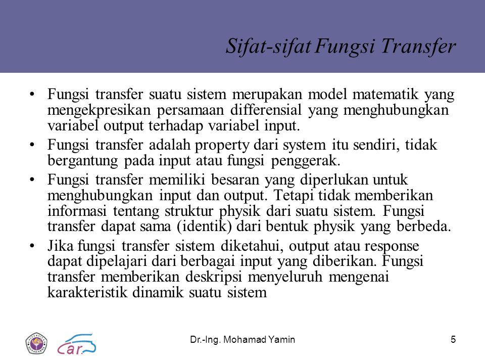 Sifat-sifat Fungsi Transfer
