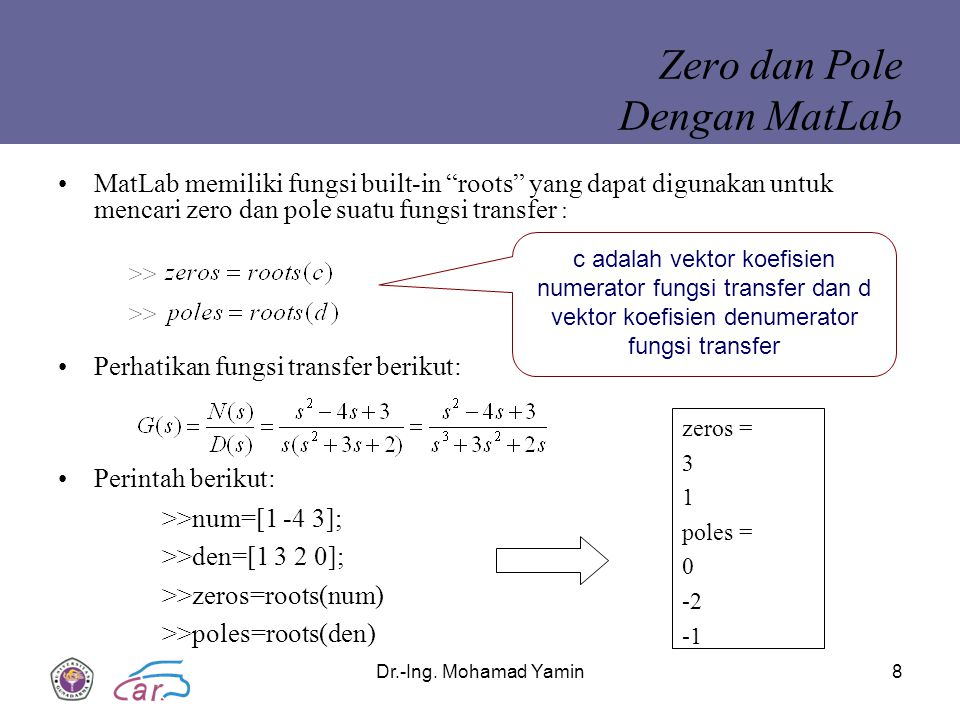 Zero dan Pole Dengan MatLab