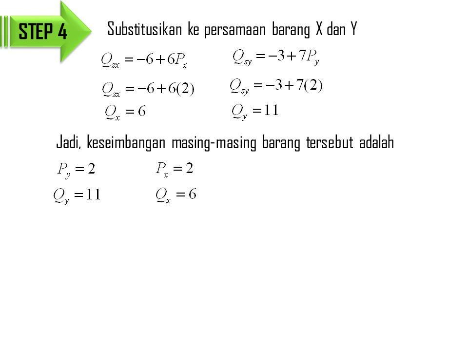 STEP 4 Substitusikan ke persamaan barang X dan Y