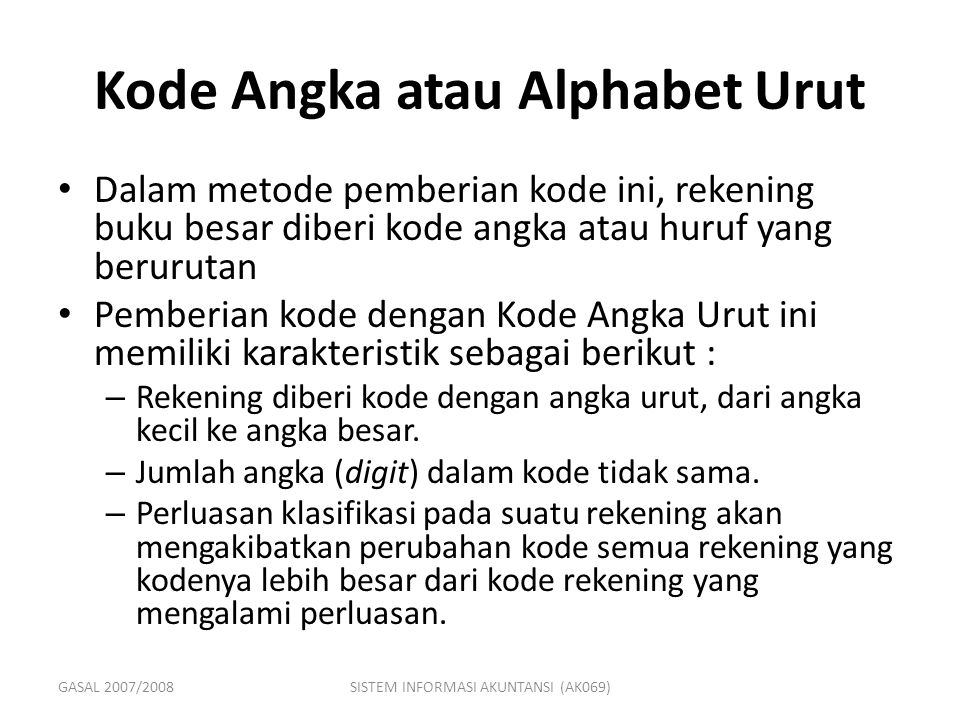 Kode Angka atau Alphabet Urut
