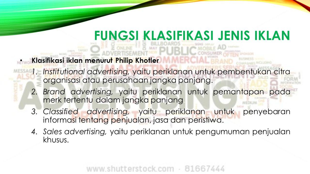 fungsi klasifikasi jenis iklan