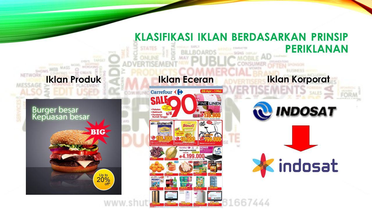 Klasifikasi iklan berdasarkan prinsip periklanan