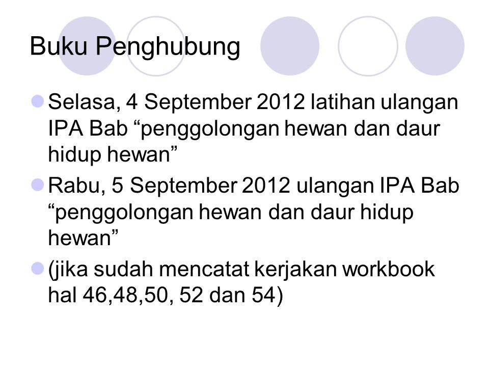 Buku Penghubung Selasa, 4 September 2012 latihan ulangan IPA Bab penggolongan hewan dan daur hidup hewan