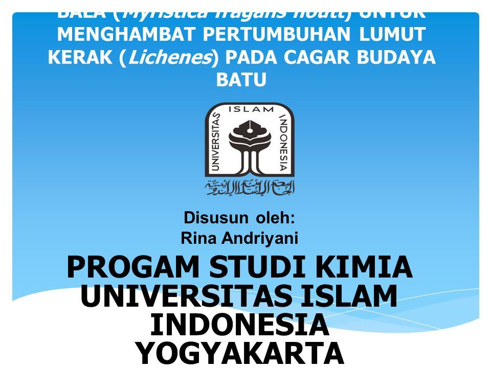 PROGAM STUDI KIMIA UNIVERSITAS ISLAM INDONESIA YOGYAKARTA 2015