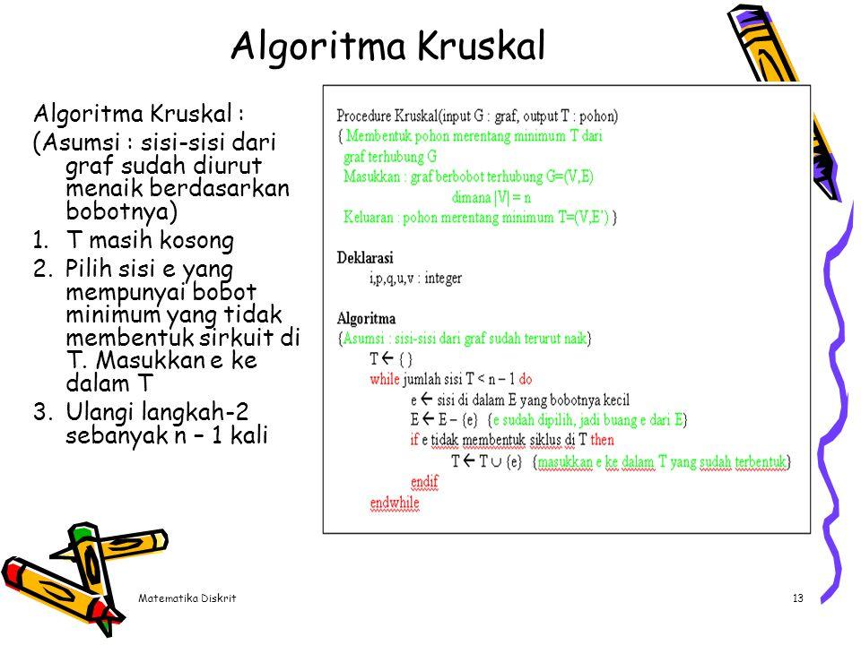 Contoh Selesaikan dengan menggunakan algoritma Kruskal a a b b d d c c