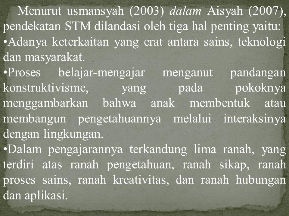 Menurut usmansyah (2003) dalam Aisyah (2007), pendekatan STM dilandasi oleh tiga hal penting yaitu: