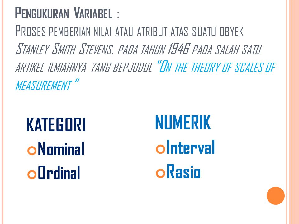 NUMERIK Interval Rasio KATEGORI Nominal Ordinal