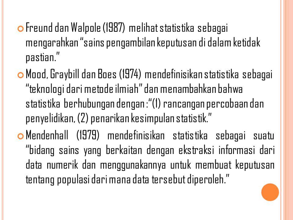 Freund dan Walpole (1987) melihat statistika sebagai mengarahkan sains pengambilan keputusan di dalam ketidak pastian.