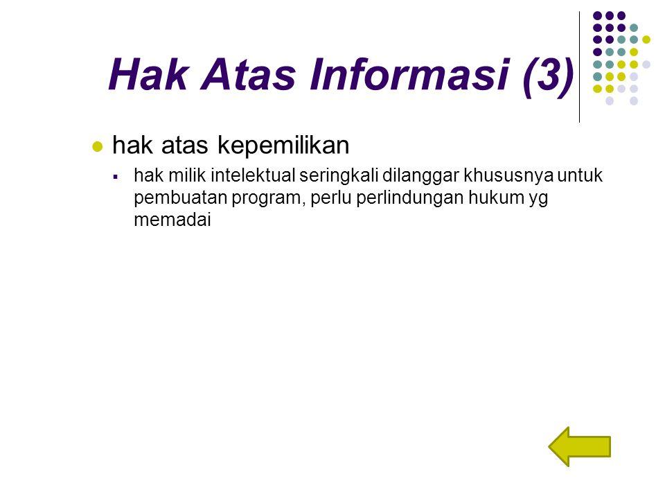Hak Atas Informasi (3) hak atas kepemilikan