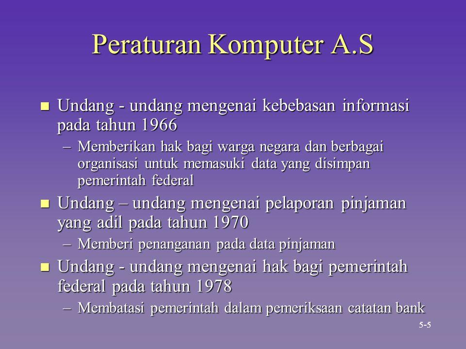 Peraturan Komputer A.S Undang - undang mengenai kebebasan informasi pada tahun 1966.