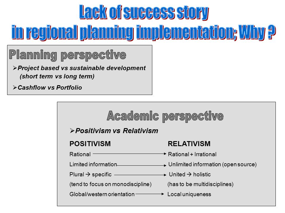 in regional planning implementation; Why