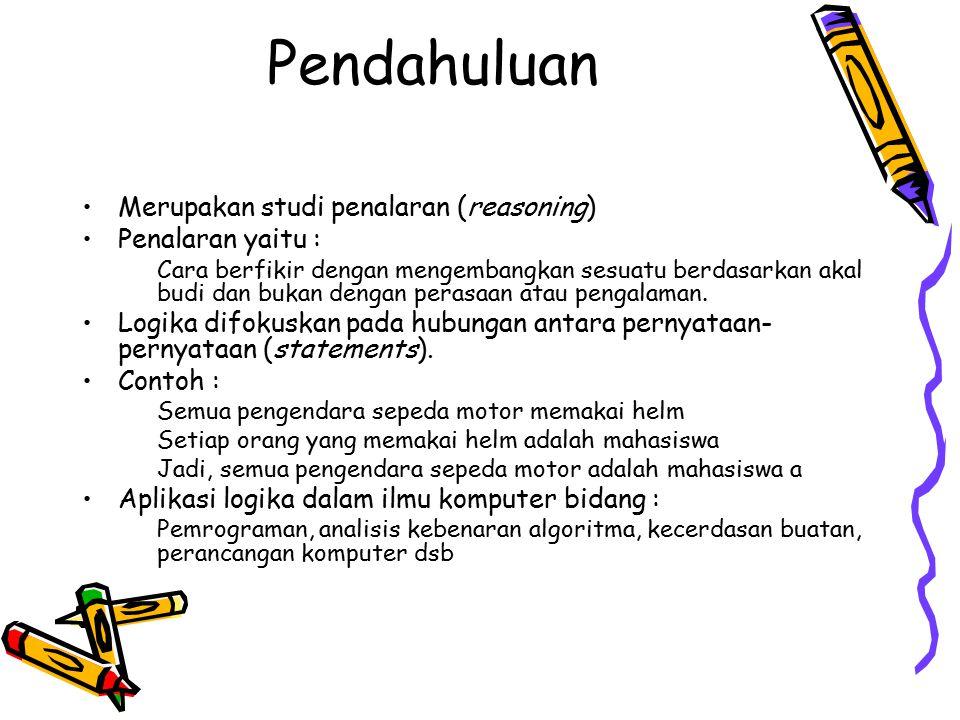 Pendahuluan Merupakan studi penalaran (reasoning) Penalaran yaitu :