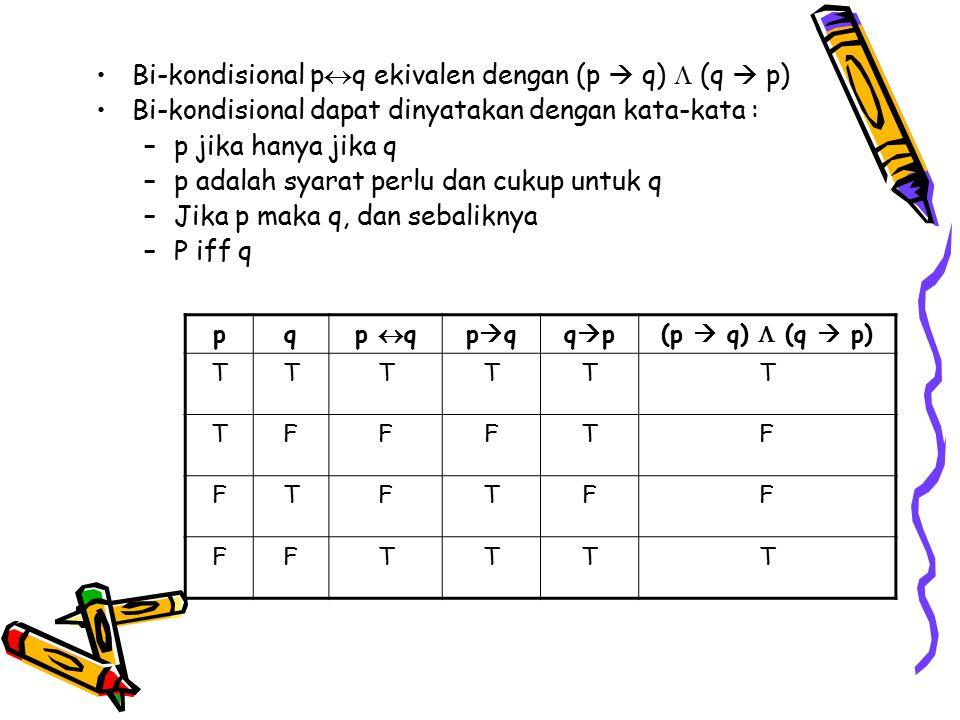 Bi-kondisional pq ekivalen dengan (p  q)  (q  p)