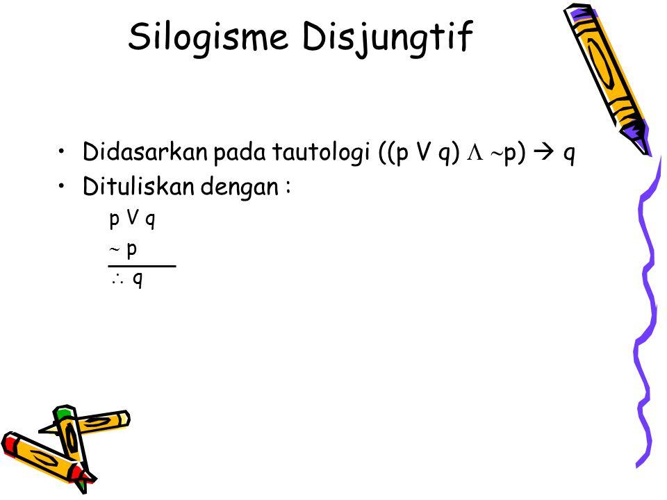 Silogisme Disjungtif Didasarkan pada tautologi ((p V q)  p)  q