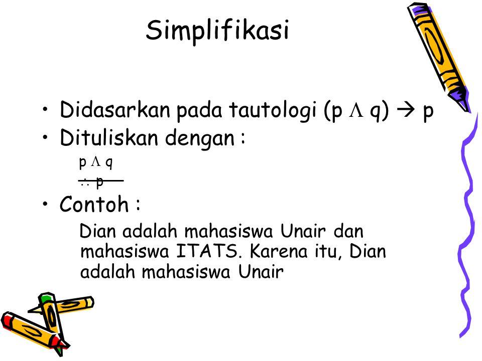 Simplifikasi Didasarkan pada tautologi (p  q)  p Dituliskan dengan :