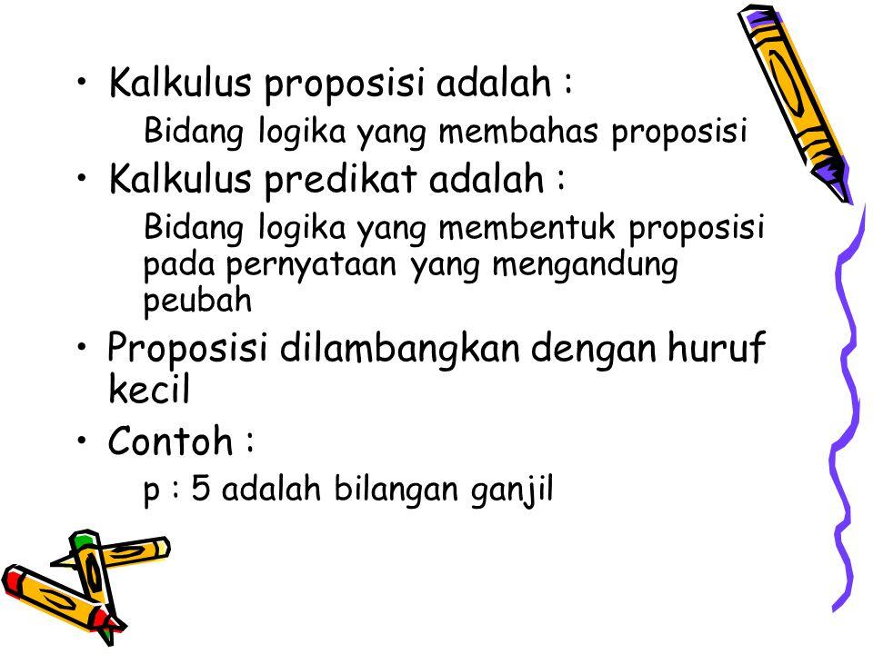 Kalkulus proposisi adalah : Kalkulus predikat adalah :
