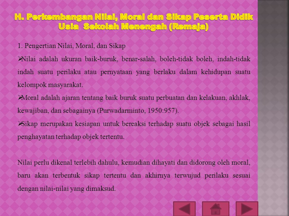 H. Perkembangan Nilai, Moral dan Sikap Peserta Didik Usia Sekolah Menengah (Remaja)