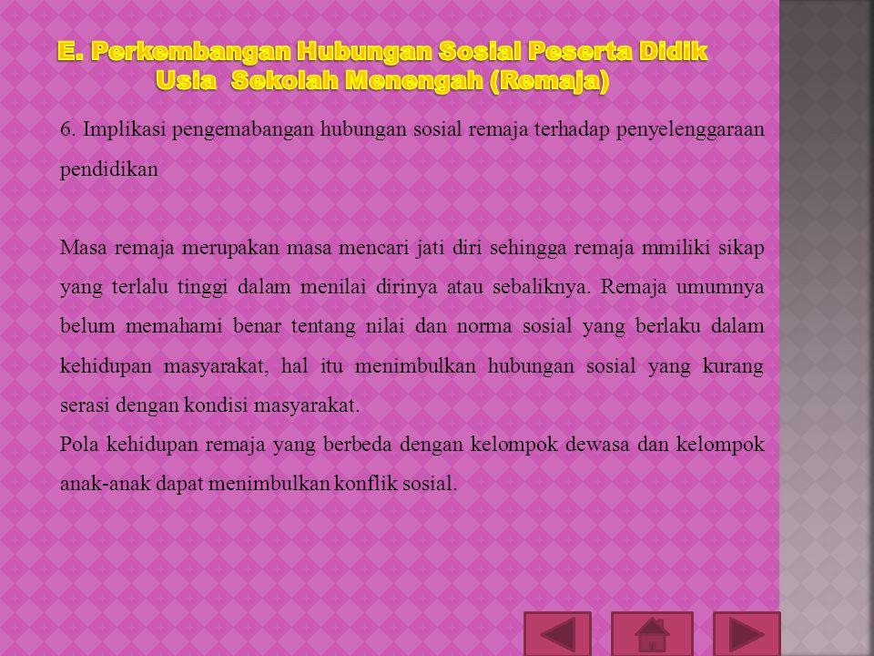 E. Perkembangan Hubungan Sosial Peserta Didik Usia Sekolah Menengah (Remaja)