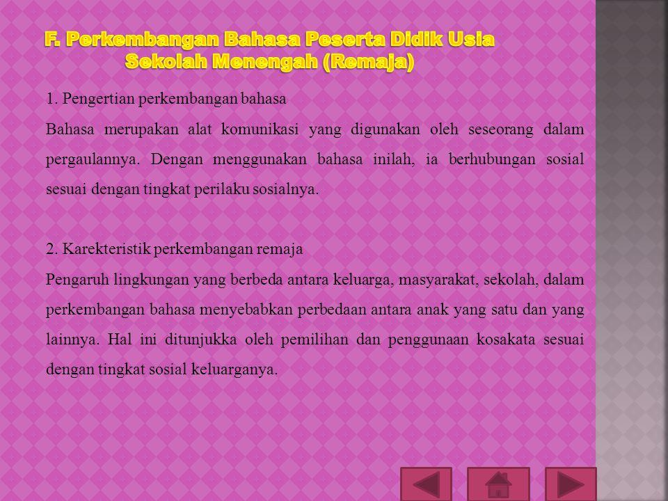 F. Perkembangan Bahasa Peserta Didik Usia Sekolah Menengah (Remaja)