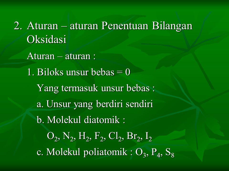 2. Aturan – aturan Penentuan Bilangan Oksidasi