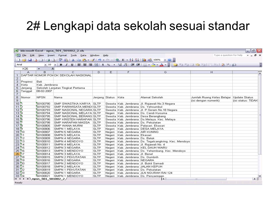 2# Lengkapi data sekolah sesuai standar