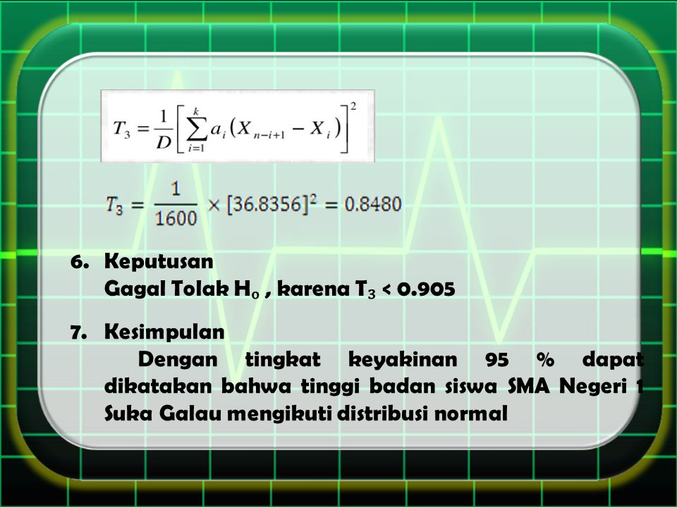 Keputusan Gagal Tolak Hₒ , karena T₃ < 0.905. Kesimpulan.