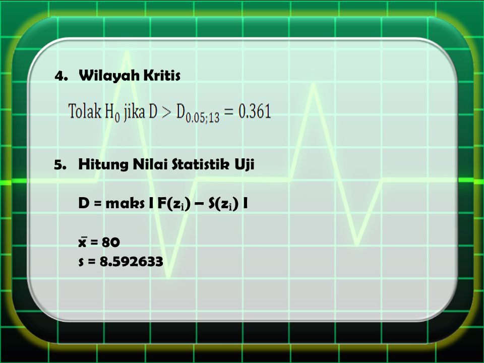 Wilayah Kritis Hitung Nilai Statistik Uji D = maks I F(zᵢ) – S(zᵢ) I x̅ = 80 s = 8.592633