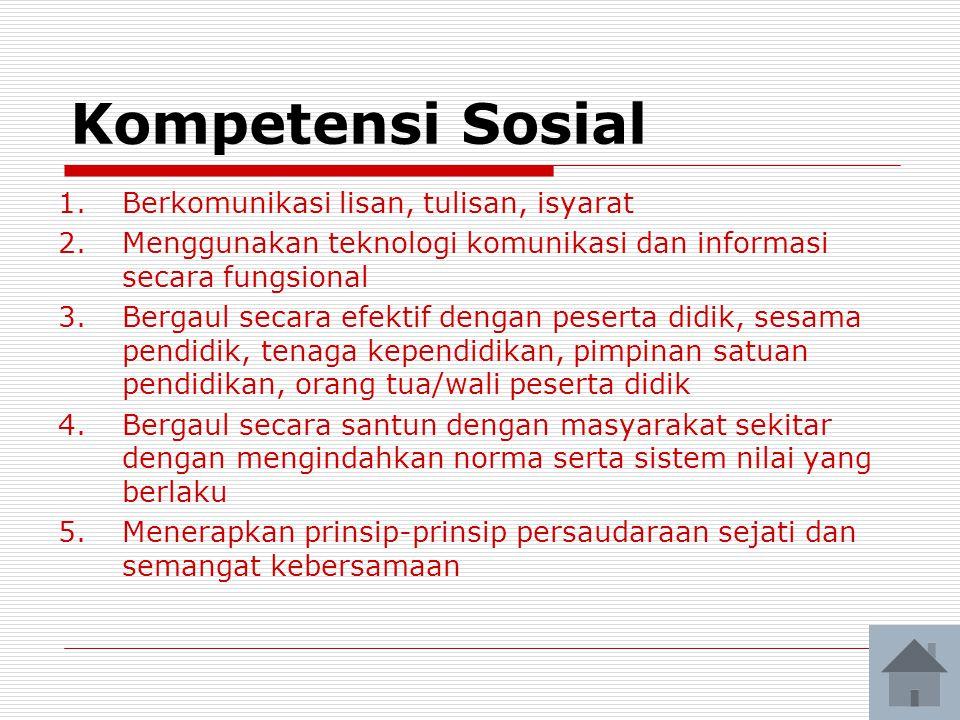 Kompetensi Sosial Berkomunikasi lisan, tulisan, isyarat