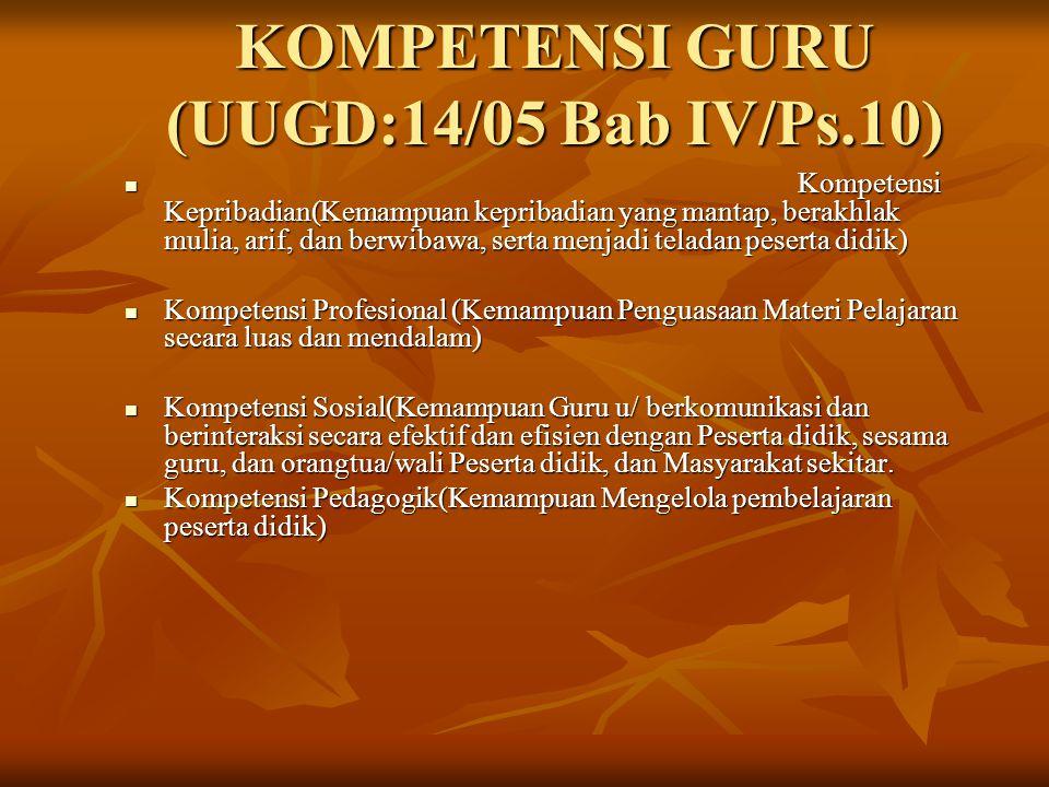 KOMPETENSI GURU (UUGD:14/05 Bab IV/Ps.10)