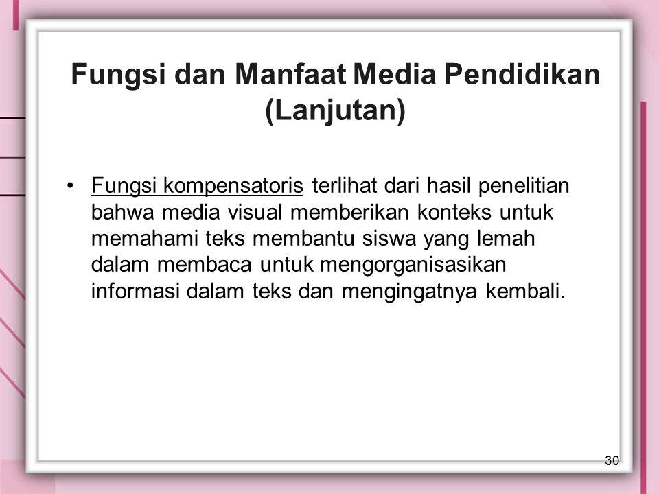 Fungsi dan Manfaat Media Pendidikan (Lanjutan)