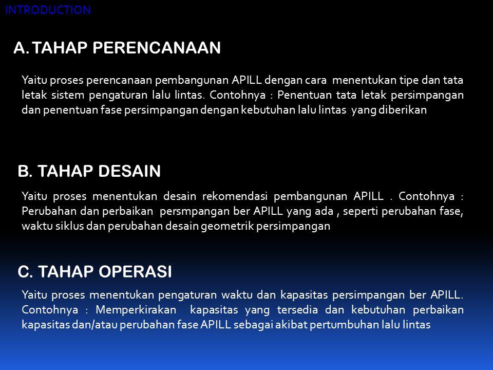 TAHAP PERENCANAAN B. TAHAP DESAIN C. TAHAP OPERASI INTRODUCTION