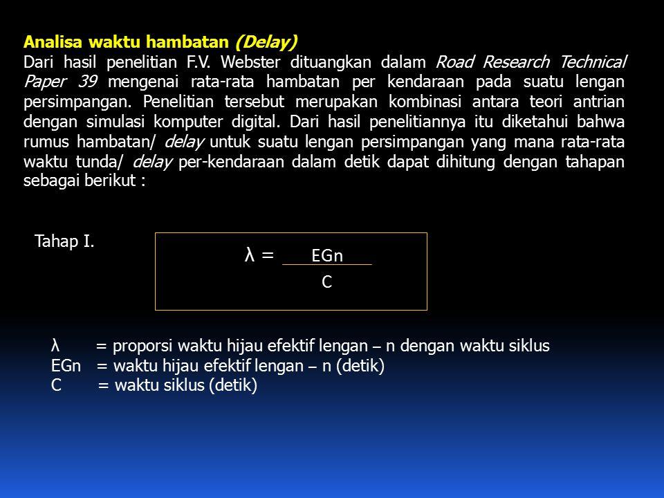 λ = EGn C Analisa waktu hambatan (Delay)
