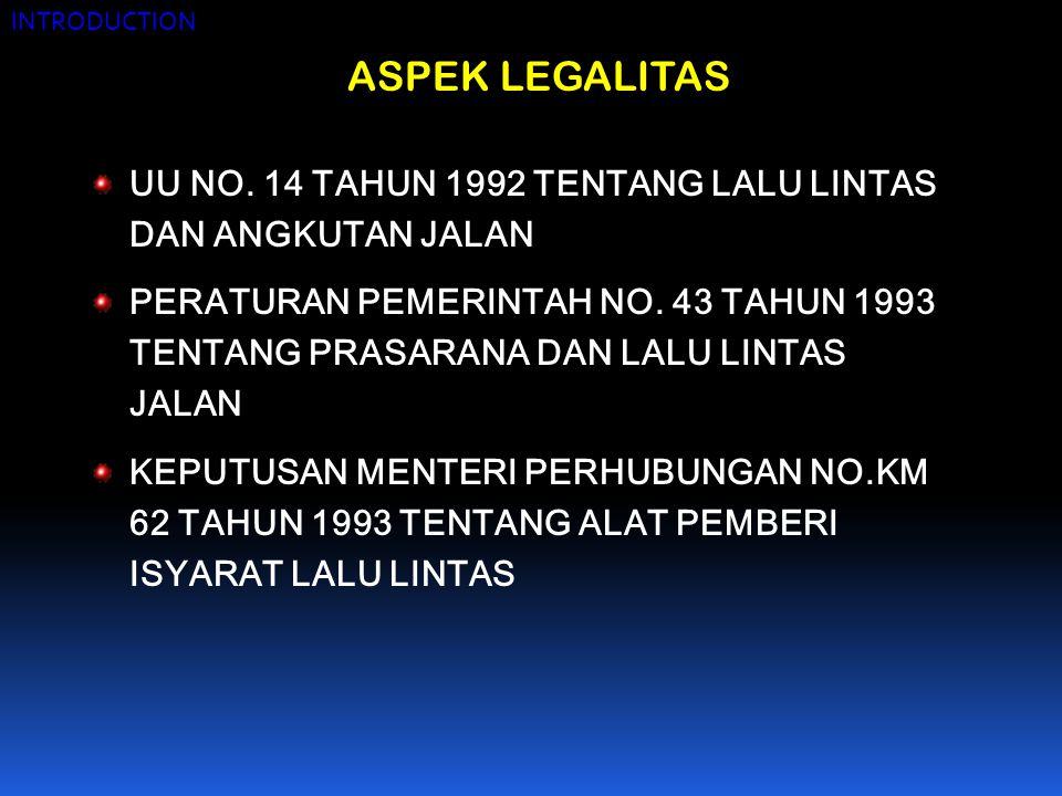 INTRODUCTION ASPEK LEGALITAS. UU NO. 14 TAHUN 1992 TENTANG LALU LINTAS DAN ANGKUTAN JALAN.