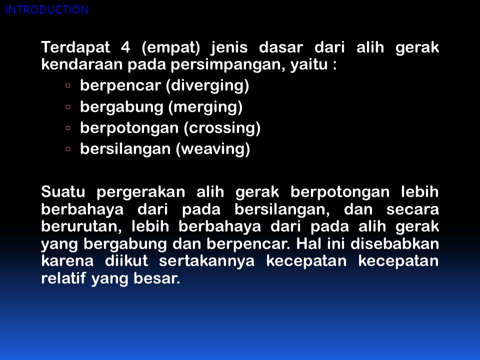 berpencar (diverging) bergabung (merging) berpotongan (crossing)