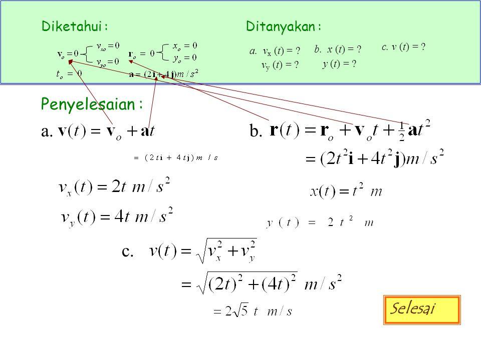 b. x (t) = y (t) = c. a. vx (t) = vy (t) = c. v (t) =