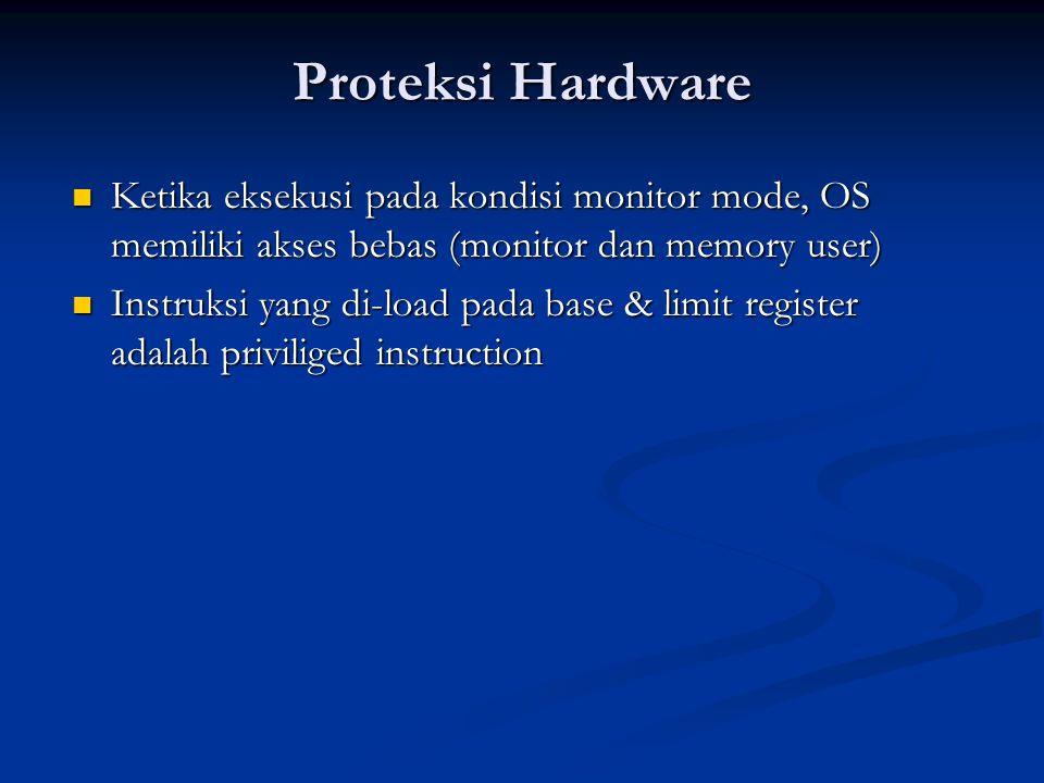 Proteksi Hardware Ketika eksekusi pada kondisi monitor mode, OS memiliki akses bebas (monitor dan memory user)