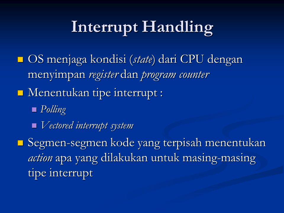 Interrupt Handling OS menjaga kondisi (state) dari CPU dengan menyimpan register dan program counter.