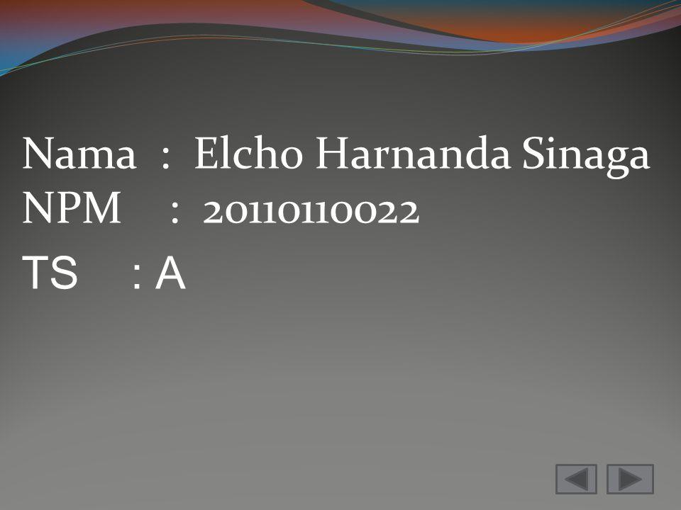 Nama : Elcho Harnanda Sinaga NPM : 20110110022 TS : A