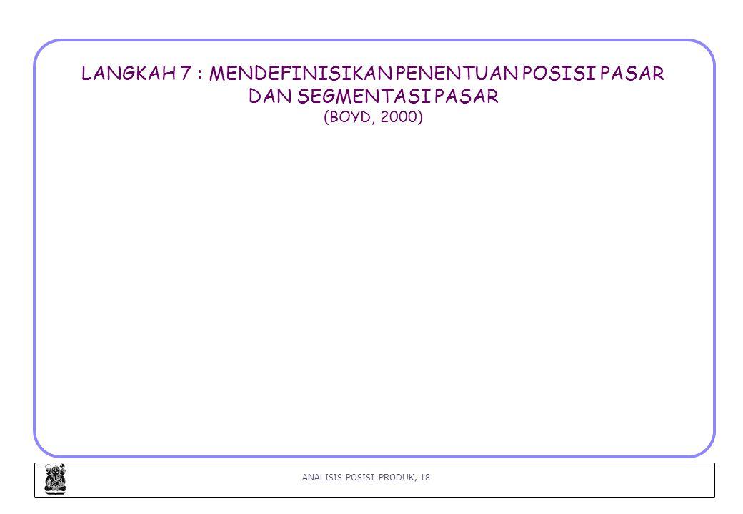 LANGKAH 7 : MENDEFINISIKAN PENENTUAN POSISI PASAR DAN SEGMENTASI PASAR (BOYD, 2000)