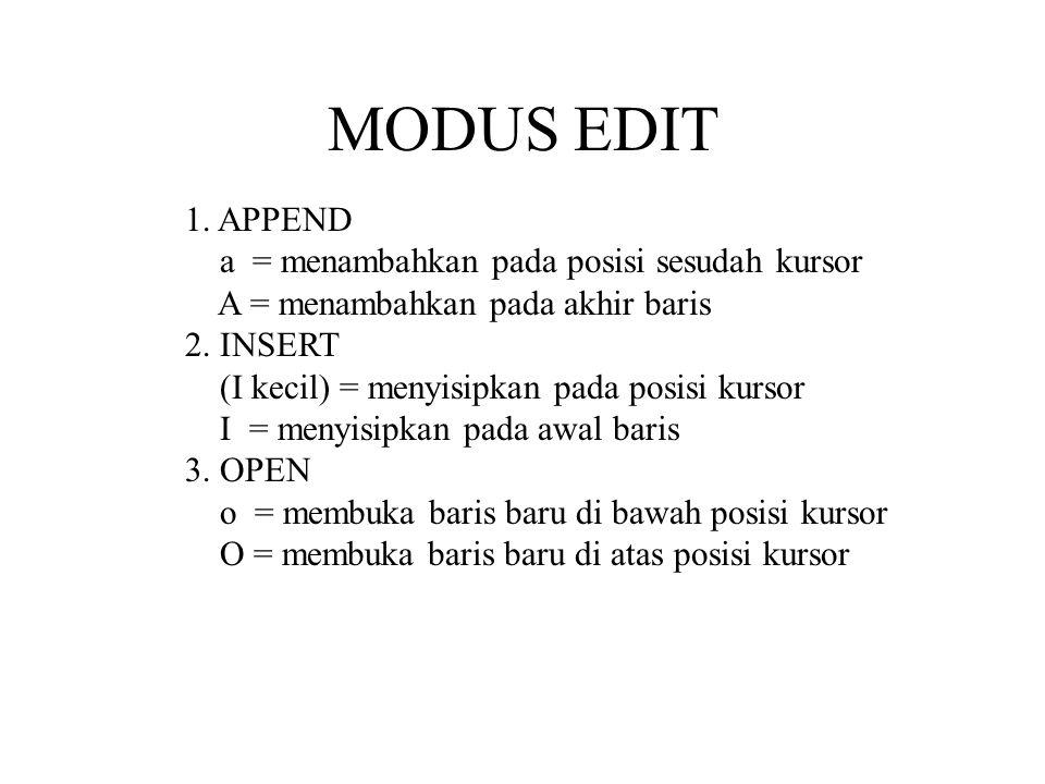 MODUS EDIT 1. APPEND a = menambahkan pada posisi sesudah kursor
