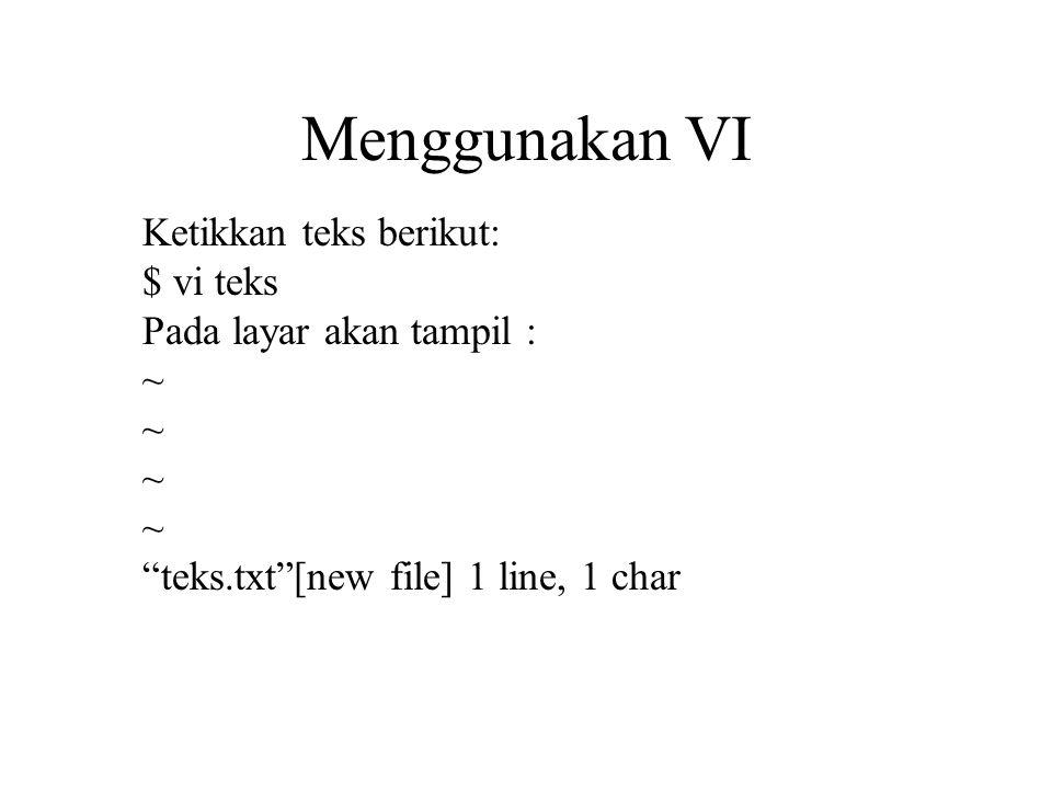 Menggunakan VI Ketikkan teks berikut: $ vi teks