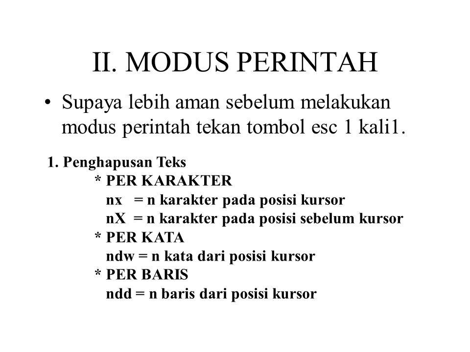II. MODUS PERINTAH Supaya lebih aman sebelum melakukan modus perintah tekan tombol esc 1 kali1. 1. Penghapusan Teks.