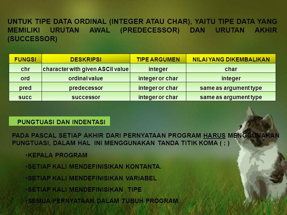 UNTUK TIPE DATA ORDINAL (INTEGER ATAU CHAR), YAITU TIPE DATA YANG MEMILIKI URUTAN AWAL (PREDECESSOR) DAN URUTAN AKHIR (SUCCESSOR)