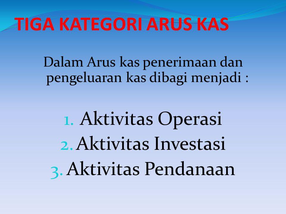 Dalam Arus kas penerimaan dan pengeluaran kas dibagi menjadi :