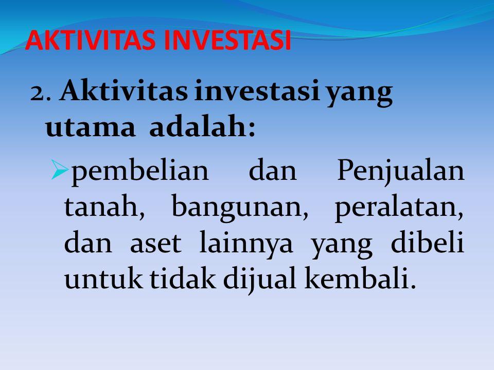 AKTIVITAS INVESTASI 2. Aktivitas investasi yang utama adalah: