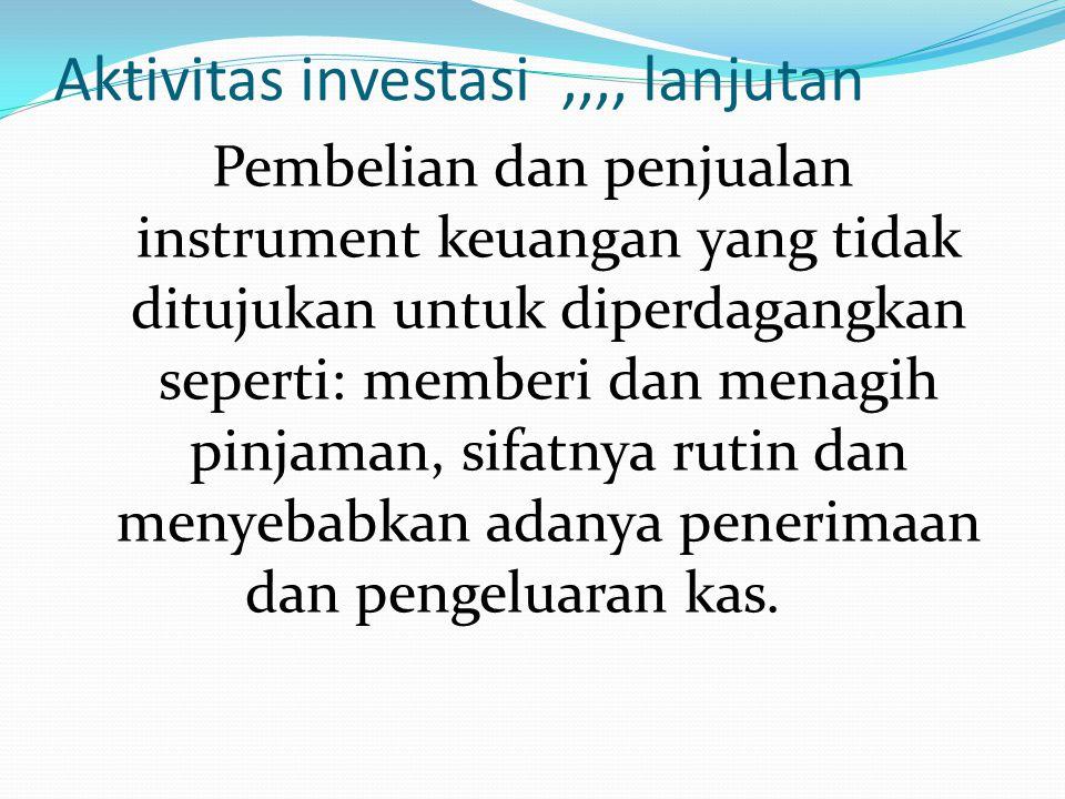 Aktivitas investasi ,,,, lanjutan