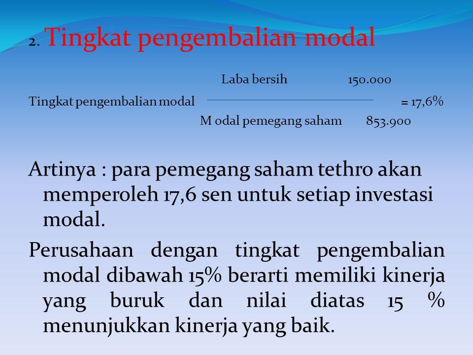 2. Tingkat pengembalian modal