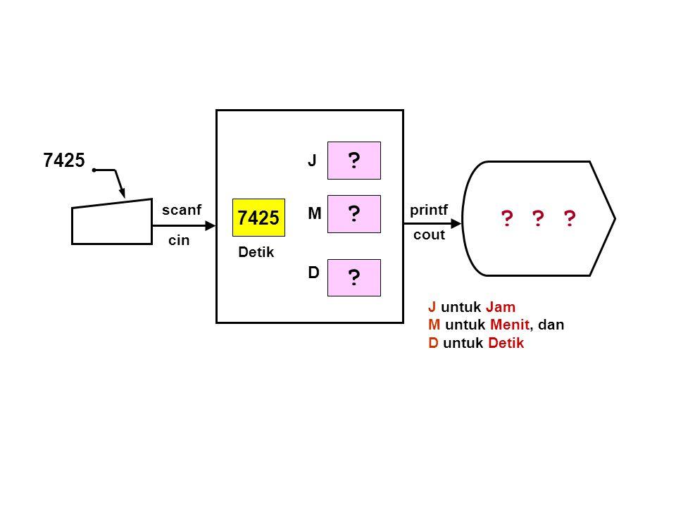 7425 7425 J M D scanf printf cout cin Detik J untuk Jam