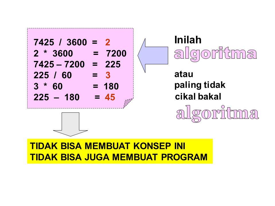 algoritma algoritma Inilah 7425 / 3600 = 2 2 * 3600 = 7200