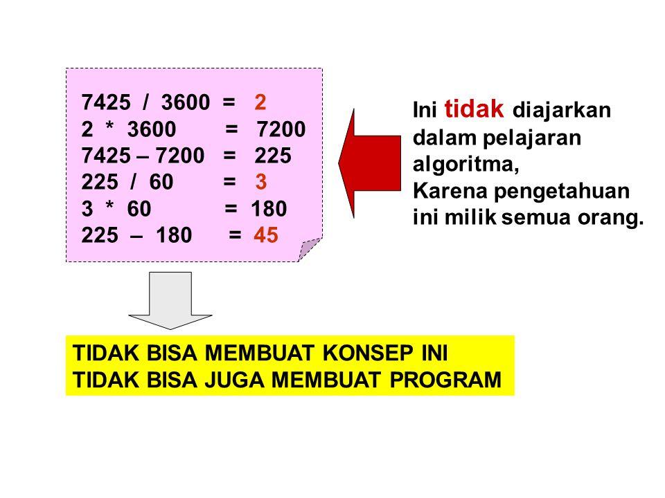 7425 / 3600 = 2 2 * 3600 = 7200. 7425 – 7200 = 225. 225 / 60 = 3.